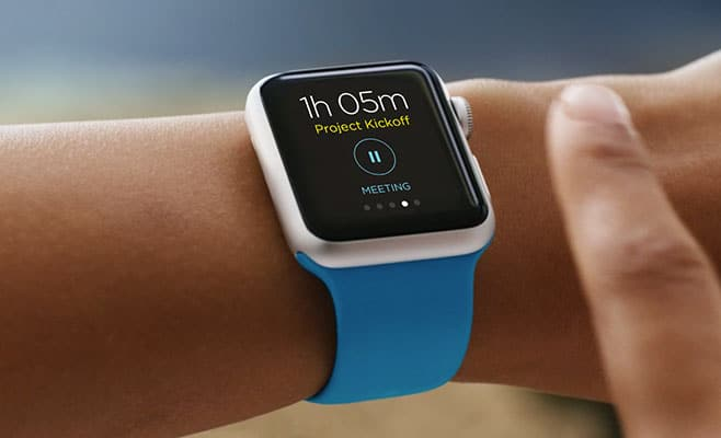 A preview of OfficeTime's software displayed on an apple watch