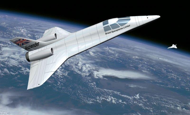 A CGI illustration of the Ascender, a sub-orbital spaceplane proposed by David Ashford