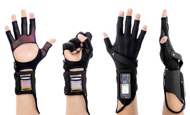 Mi.Mu Gloves developed at UWE Bristol, in various poses
