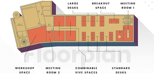 A floorplan diagram of new coworking space Bristol VR lab