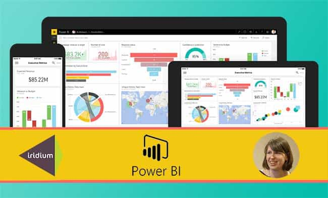 Collage showing Power BI screenshots and Helen Gore from Iridium Insights