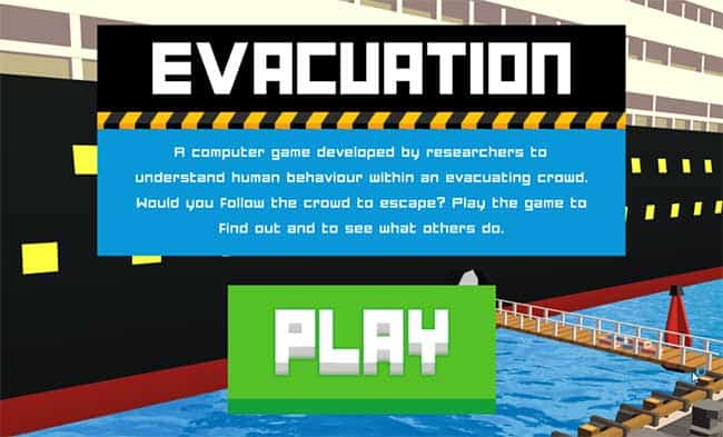 Screenshot of evacuation game
